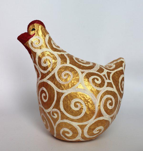 תרנגולת זהב עם ספירלות לבנות