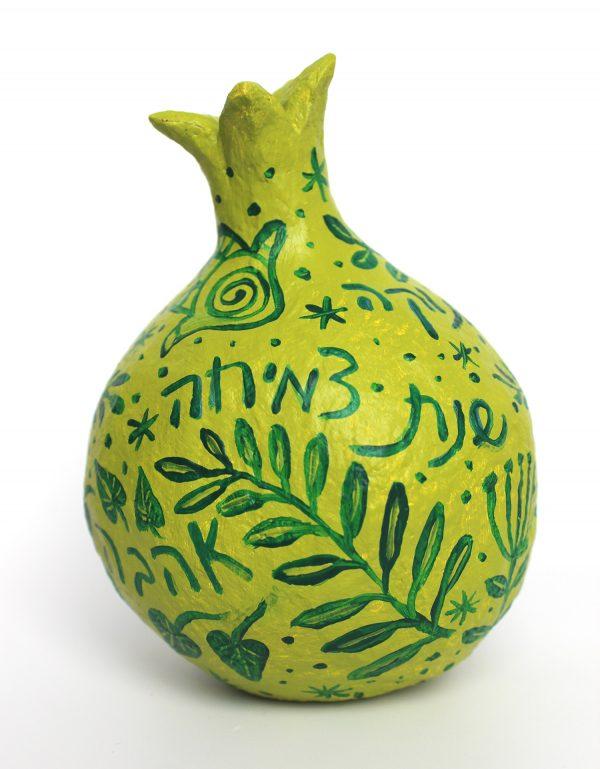 רימון ברכות לראש השנה, ירוק עם ירוק וברכות בעברית ובאנגלית (גדול)