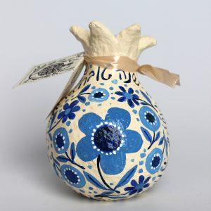 רימון ברכות לראש השנה, לבן עם כחול וברכות בעברית (קטן)