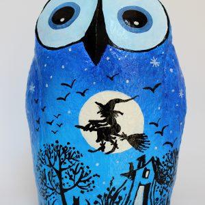 ינשוף לילה כחול עם ירח מלא ומכשפה מעופפת (גדול)