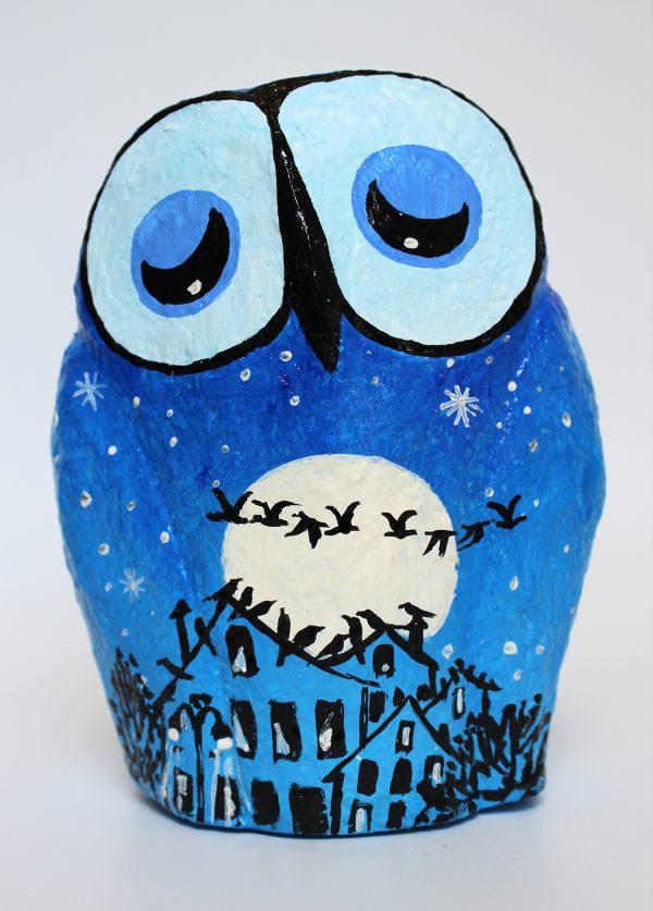 ינשוף לילה כחול עם ירח מלא ולהקת אווזים (בינוני)