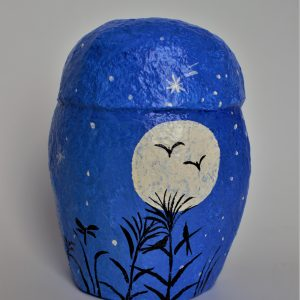 Owl, Blue with Full Moon and Flock of Geese (Medium) Back
