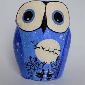Owl, Blue with Full Moon and Flock of Geese (Medium)